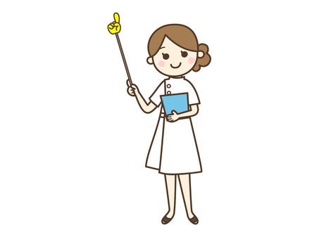 Female nurse with pointer stick _ whole body