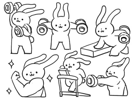 [Line drawing] Rabbit training at the gym