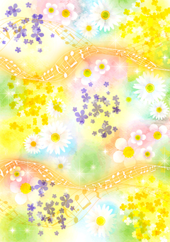 Watercolor style spring flowers and staves background