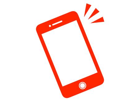 Silhouette smartphone mobile red