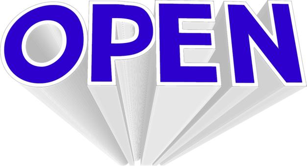 OPEN three-dimensional logo blue