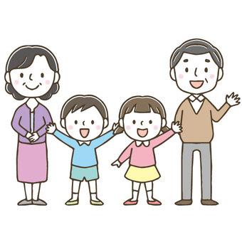 Cute family / grandchild / grandfather grandmother