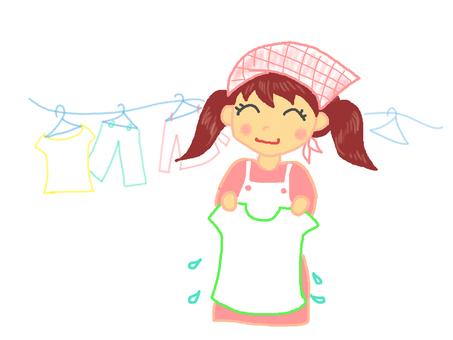 Girls doing the laundry