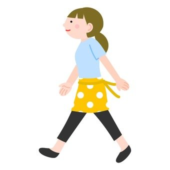 A woman in her apron (walking)