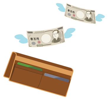 Money going flying from the wallet