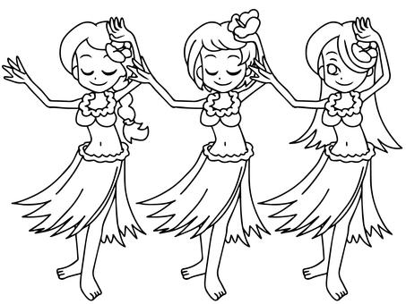 Hula girl x 3 (monochrome)