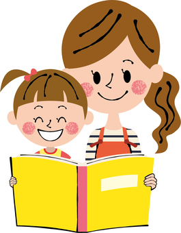 Smile mommy girl reading book book yellow