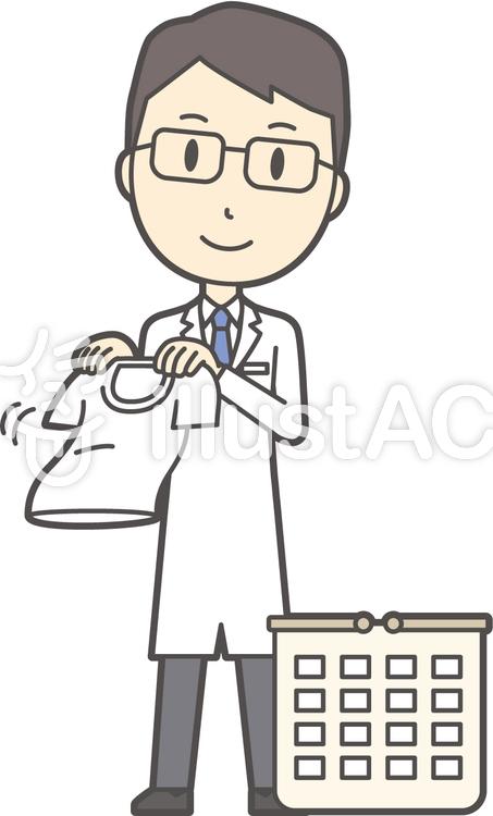 医師青年眼鏡-220-全身のイラスト