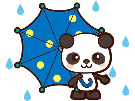 Mr. Panda holding an umbrella