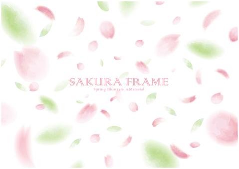 Cherry blossom snowstorm background frame