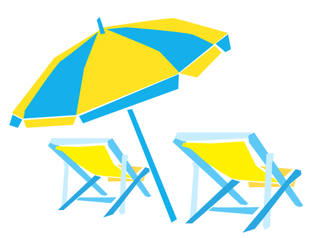 Beach umbrellas and deck chairs