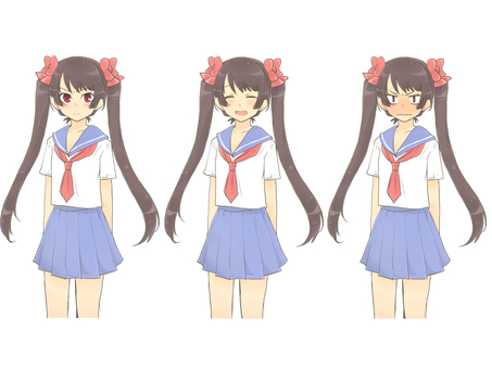 Sailor uniform twin tail girl standing picture list 01