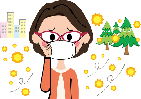 Glasses gauze mask Hay fever prevention lady middle-aged women