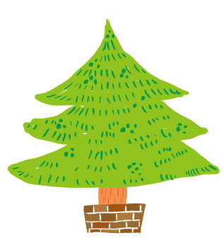 Hand-painted style Christmas tree _ tree only