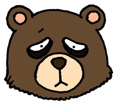 눈에 구석이 생긴 곰
