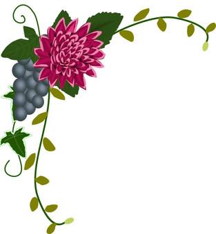 Dahlia and grape corner frame 02