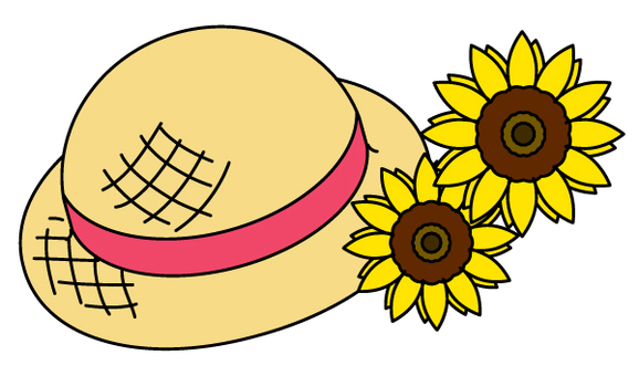 Straw hat and sunflower