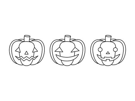 Pumpkin lantern (line drawing)