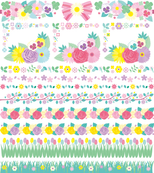 Decoration of flowers Pastel summary set