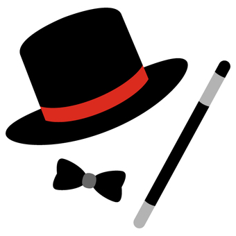 Magician hat and stick and bow tie