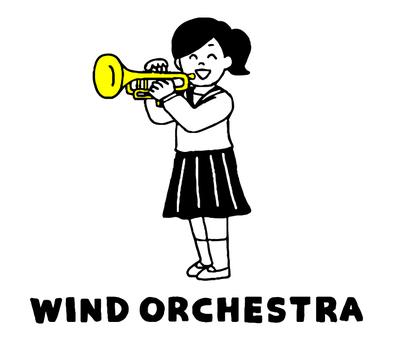 トランペット吹奏楽部女子(シンプル)