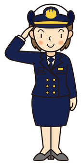 Saluting the Maritime Self-Defense Force officers (winter clothes)