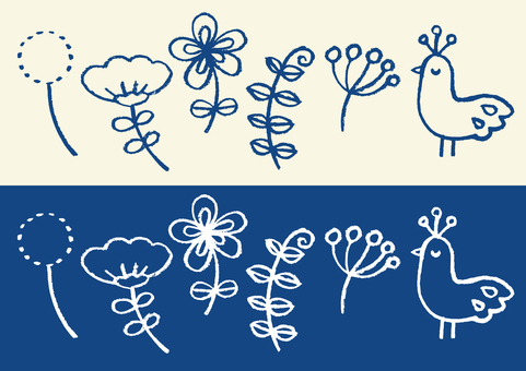 Scandinavian birds and flowers