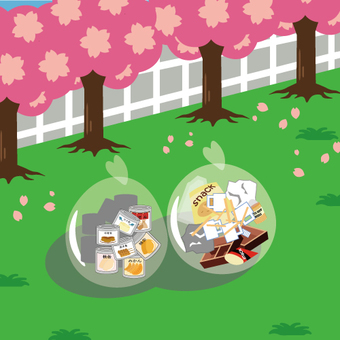 Image of trash after cherry-blossom viewing