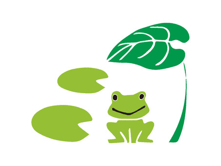 Lotus leaf and frog