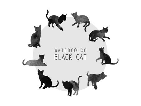 水彩黒猫シルエット