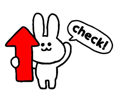 Up arrow with rabbit character (animal simple)