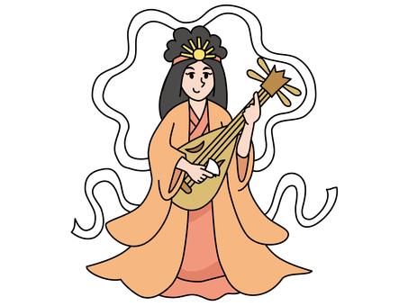 Benzaitte playing the biwa