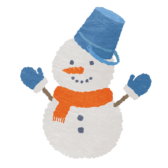 Watercolor style, two-tiered snowman