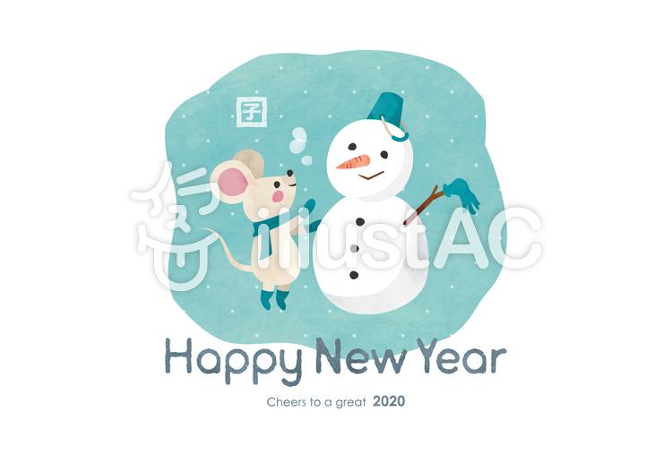 年賀状032 ねずみ 雪だるま 水彩のイラスト
