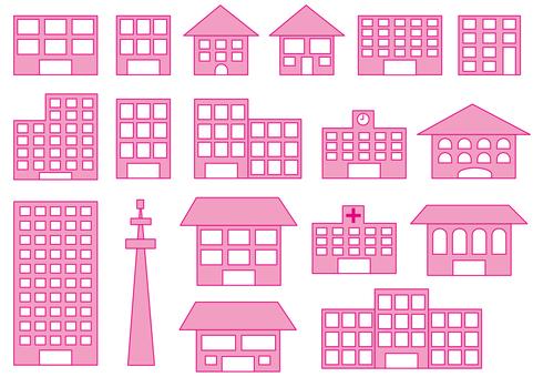 Various buildings, pink