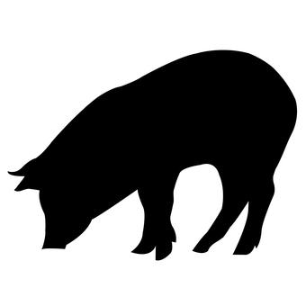 豬剪影(黑色)