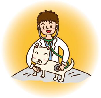 동물 간호사 남자와 개 일러스트