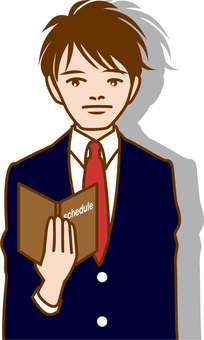 A young businessman who opens a notebook