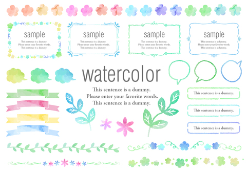 Watercolor material 016 green and flower frame set
