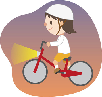 Girl riding a bicycle (evening)