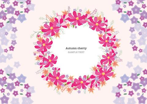 Autumn cherry blossom frame