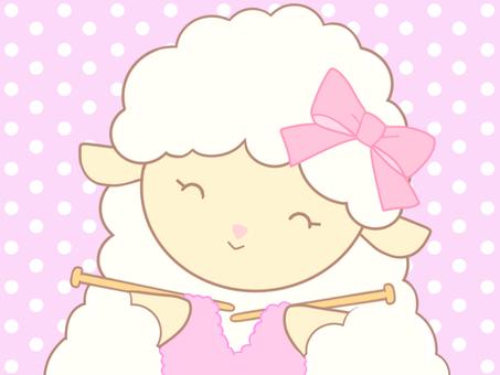 編み物をする ひつじちゃん_02