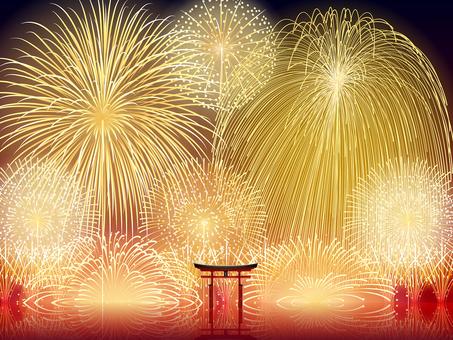 Summer · World Heritage Torii Toriijima Shrine Torii Fireworks Landscape