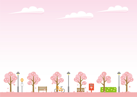 배경 (하늘과 산책로 져가는 벚꽃)