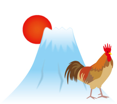 Chickens and Mt. Fuji