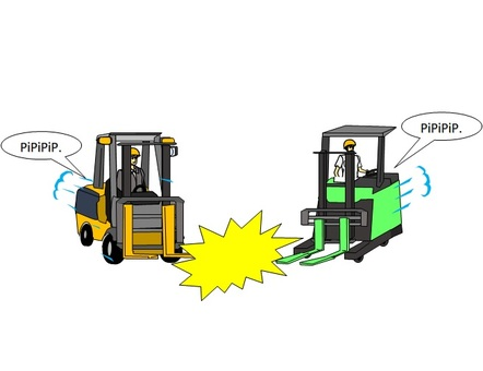 Collision accident between forklift trucks