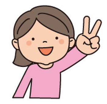 V sign girl