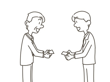 Business card exchange business man (coloring book)