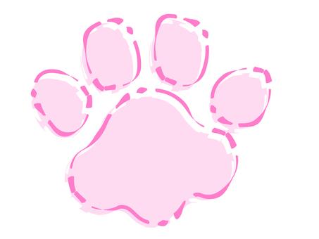 거친 핑크 육구 발자국