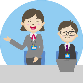 Male and female receptionist